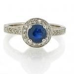 China Coloured gemstones Sapphire & Diamond cluster ring. 18ct white gold on sale