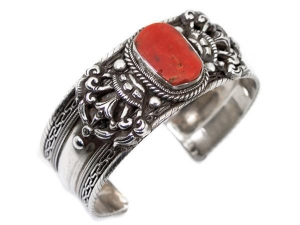 China Coral Tibetan Sterling Silver Cuff Bracelet on sale