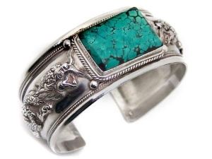 China Dragon Turquoise Sterling Silver Cuff Bracelet on sale
