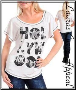 China Womens PLUS SIZE White HOLLYWOOD T Shirt Top 1X 14/16 on sale