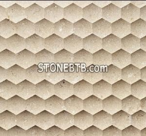 China Laminated Panel Natural Beige Stone 3D wall covering Tile on sale