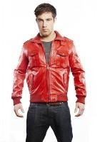 China Hot Red Mens leather Bomber Jacket on sale