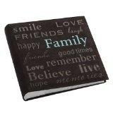 China Photo Albums Pioneer Family Text Design Sewn Faux Suede Cover Photo Album, Brown on sale