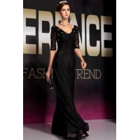 China Evening Dress Black Silk Half Sleeve Prom Dress on sale