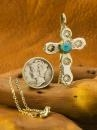 China Native American Sterling Silver Turquoise Pendant CROSS sku363 on sale