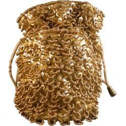 China Gold BeDazzled GOLD-LOOPED OLD STYLE GOLD DRAWSTRING WOMENS PHONE POUCH SKU: LGLP on sale