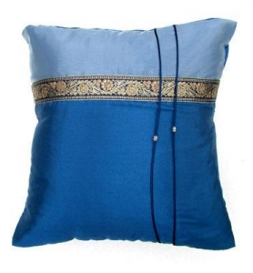 China Thai Silk Cushion Cover 16 x 16 Sky Blue Golden Lace Silver Beads on sale