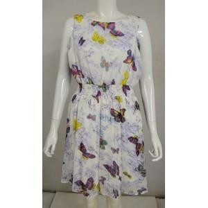 China Famous Name Butterfly Summer Dress W/ Elasticated Waist. Size 14. on sale