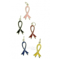 Sterling Silver and Enamel Awareness Ribbon Charm