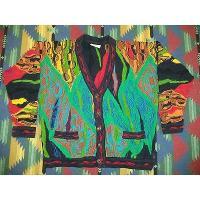 Vtg Mens COOGI AUSTRALIA Cardigan MERCERIZED Cotton MULTI-COLORED Sweater Medium