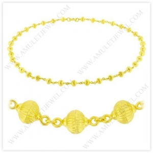 China 1/2 Baht Matte Hollow Rosary Bead Chain Necklace in 23k Thai Yellow Gold on sale