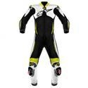 China Apparel Men's Alpinestars Atem 1-pc. Leather Motorcycle Suit Wht/Blk/Yel. on sale
