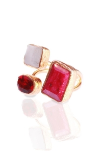 China Rough Ruby Corundum, Red Zircon & Pearl Triple Ring on sale