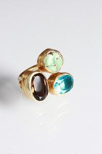 China Smoky Quartz, Blue Topaz & Turquoise Triple Ring on sale