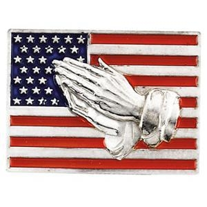 China Design Your Own 14kt White Gold American Flag Praying Hands Lapel Pin on sale