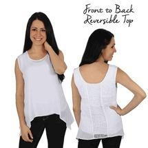 China Simply Noelle white Reversible tank top with eyelet & crochet Size L/XL on sale