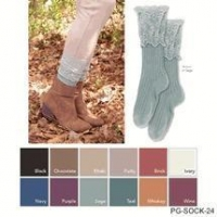 Simply Noelle ladies lace crew socks short boots or shoes brown, khaki, brick