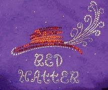 China Christine Alexander purple sweatshirt Red hatter hat feather Small only on sale