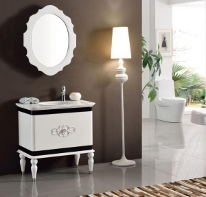 China Europe Waterproof White Lacquer Solid Wood Washroom Vanity Sets Mirror Storage Cabinet on sale