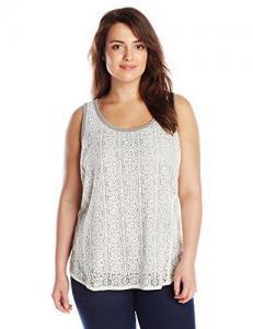 China DKNY Jeans Women's Plus-Size Foil Lace Tank on sale