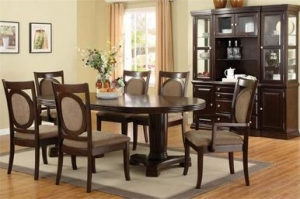 China Evelyn Oval Dark Walnut Dining Table with Chairs on sale