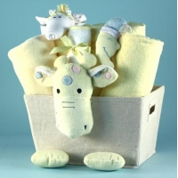 China Unique Baby Gifts Plush Giraffe Baby Shower Gift Basket on sale