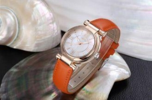 China Genuine leather band ladies wrist watch with Japan quartz movement MOP dial on sale