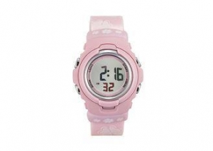 China Personalized Pink Strap Four Leaf Clover LCD Digital Wrist Watch Ladies / Women on sale