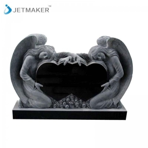 China Angel Tombstone&Headstone Indian Black Double Heart with Angel Memorials & Headstones on sale