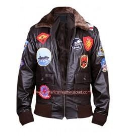 China Tom Cruise Top Gun Men Fighter Jet Pilot Leather Jacket on sale