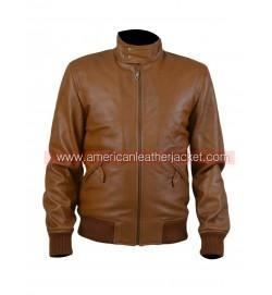 China Narcos Steve Murphy Bomber Brown Leather Jacket on sale
