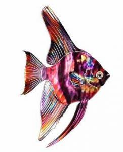 China Rainbow Tropical Angel Fish Metal Wall Art on sale
