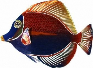 China Tropical Kissing Fish Metal Wall Art Sculpture on sale