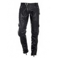 Psyche Buttoned Leather Pants Bottoms