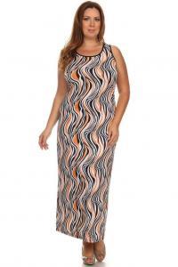 China Sleeveless Corset-Back Maxi Dress - Orange Wave on sale