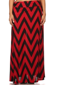 China Maxi Skirt - RED CHEVRON on sale
