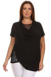 China Two Layer Lace Short Sleeve Cowl Neck Top - BLACK on sale