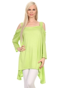 China Off-Shoulder Strap Long Sleeve Solid Sidetail Tunic - LIME on sale