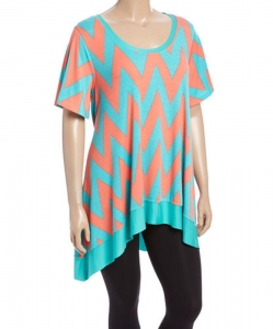 China Desere Plus-Size Women's Scoop Neck Tunic - TEAL CORAL ZIGZAG on sale