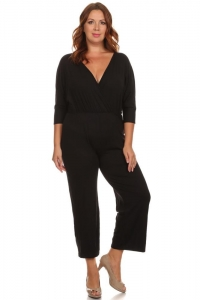 China V-Neck Surplice 3/4 Sleeve Jumpsuit - BLACK on sale