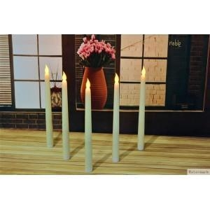 China wholesale white candle ivory color battery operated flameless cemetery white led taper candle on sale
