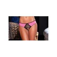 Rene Rofe Lace Peek-A-Boo Bra and Crotchless Panty Set Black M/L