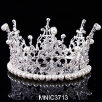 China Luxurious Full Crown Design Wedding Jewelry Bridal Circle Round Tiaras Bridal Hair Accessory on sale