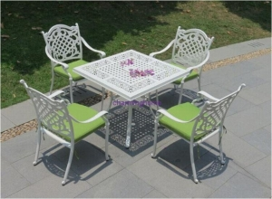 China cast aluminium outdoor furniture white antique copper square garden table and 4 chairs OF-A07 square on sale