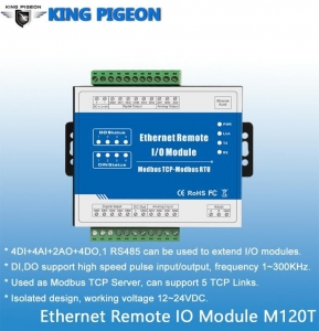 China Modbus TCP Ethernet Remote IO Module (4DI+4DO+4AI+2AO) on sale
