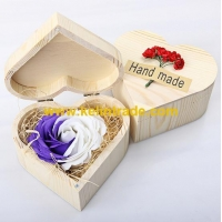 China Good Smell rose shaped soap flower the promotion bath soap with heart shaped wooden box on sale