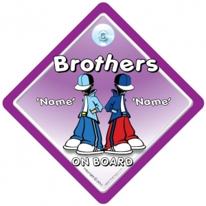 China Brothers On Board Car Sign / ADD YOUR OWN NAMES / Personalised Car Sign on sale