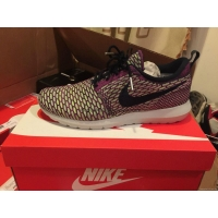 NIKE FLYKNIT ROSHE RUN MENS SZ 10 PURPLE FUCHSIA GREEN WHITE OBSIDIAN 677243-400