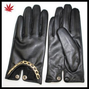 China Women's basic leather gloves with metal chain on sale