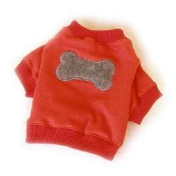 China Dog toys Red Fleecy Dog T-shirt with Big Grey Bone Applique (matching dog cap available!) on sale